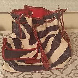 Dooney & Bourke Leather Zebra Print Drawstring Bag